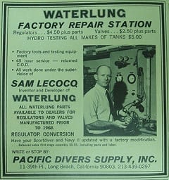 "Young Sam – early ""waterlung"" technician"