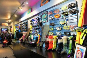 Large selection of masks, fins and snorkels