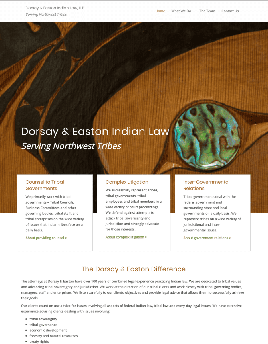 Gotsowell redesign of Dorsay & Easton Indian Law site